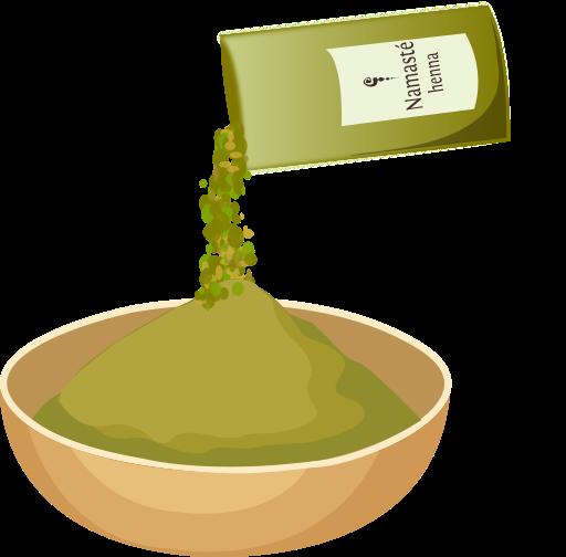 añade henna en un cuenco